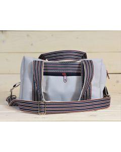 Handtasche grau-blau-rot