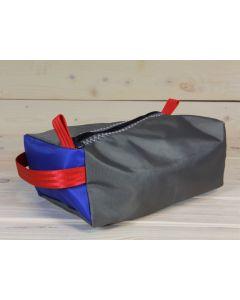 Kulturtasche grau-blau-rot