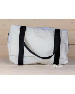 Kulturtasche weiß-blau mit Henkeln