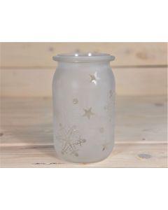Sandgestrahltes Glas mit Schneeflocken und Sternen